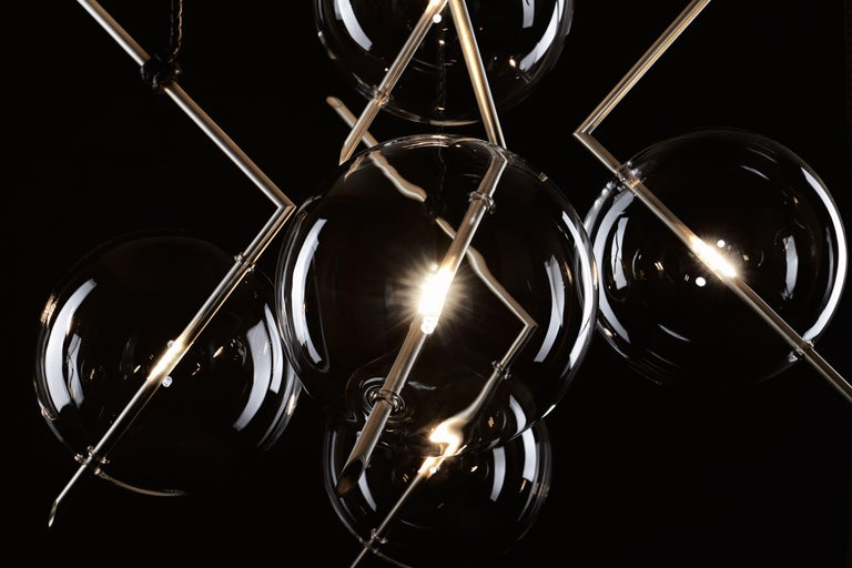 Nuvola BOLD Five-Light Contemporary Chandelier Clear Blown Glass, Brushed Brass In New Condition For Sale In Novellara, IT