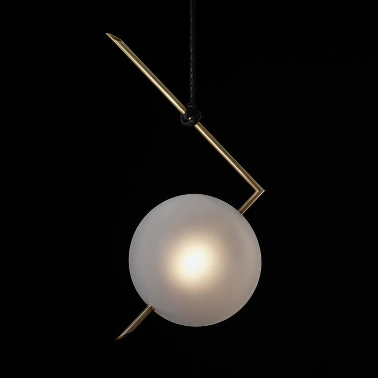 Brushed Nuvola BOLD One Light Pendant, Stardust White Blown Glass, Leather, Brass For Sale
