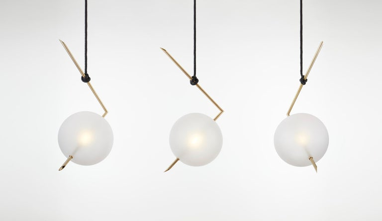 Nuvola BOLD One Light Pendant, Stardust White Blown Glass, Leather, Brass In New Condition For Sale In Novellara, IT