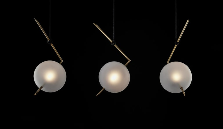 Nuvola BOLD One Light Pendant, Stardust White Blown Glass, Leather, Brass For Sale 1