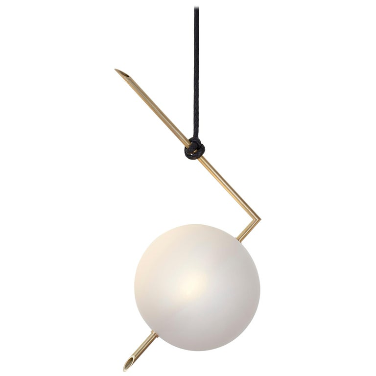 Nuvola BOLD One Light Pendant, Stardust White Blown Glass, Leather, Brass For Sale