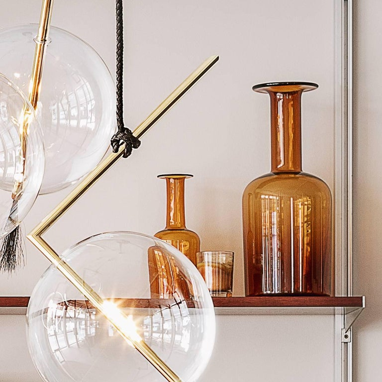 Hand-Crafted Nuvola Five Lights Contemporary Chandelier / Pendant Polished Brass,Customizable For Sale