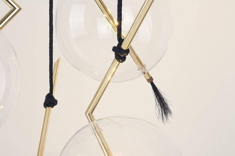 Leather Nuvola Five Lights Contemporary Chandelier / Pendant Polished Brass,Customizable For Sale
