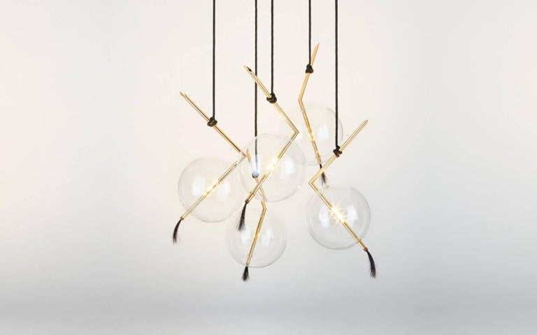 Nuvola Five Lights Contemporary Chandelier / Pendant Polished Brass,Customizable For Sale 1