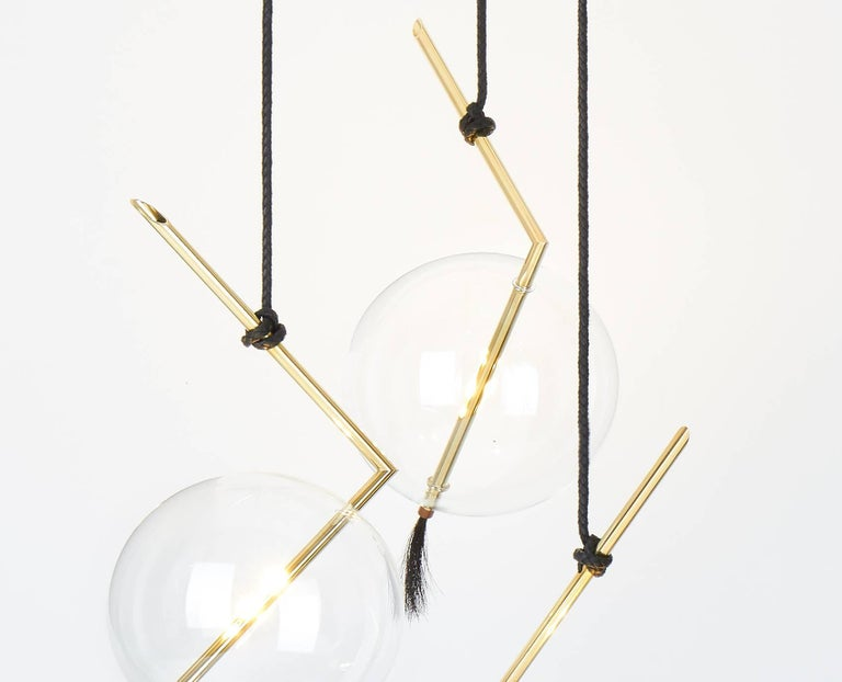 Hand-Crafted Nuvola Three Lights Sculptural Minimalist Chandelier / Pendant  For Sale