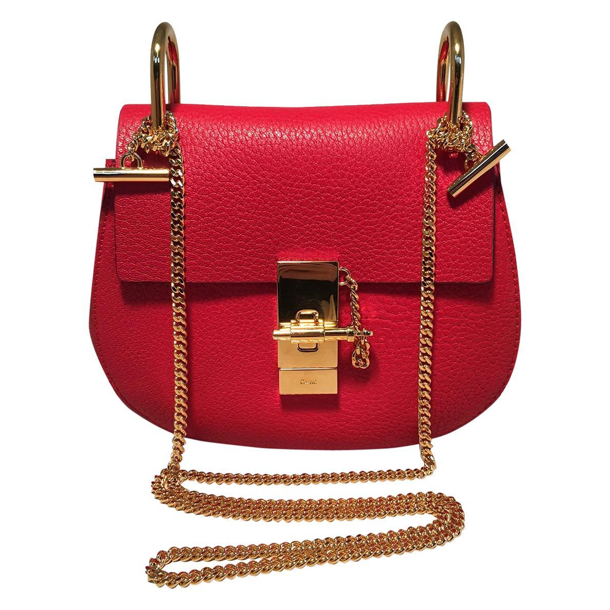 NWOT Chloe Mini Drew Red Leather Saddle Bag