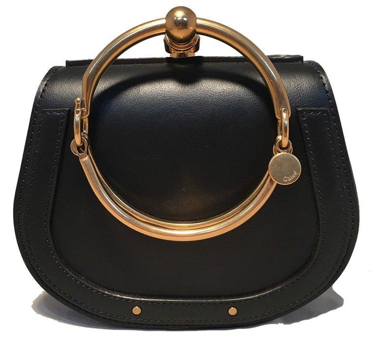 NWOT Chloe Nile Small Black Leather Bracelet Bag In New Condition For Sale In Philadelphia, PA