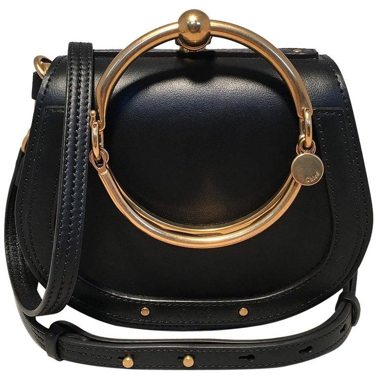 NWOT Chloe Nile Small Black Leather Bracelet Bag For Sale