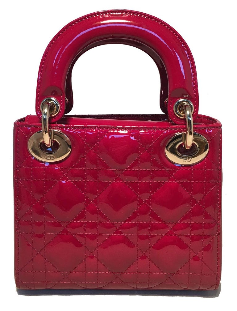 Women's NWOT Christian Dior Red Patent Leather Mini Lady Dior Bag For Sale
