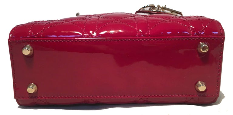 NWOT Christian Dior Red Patent Leather Mini Lady Dior Bag For Sale 1