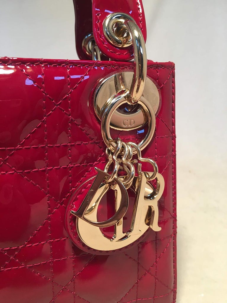 NWOT Christian Dior Red Patent Leather Mini Lady Dior Bag For Sale 2