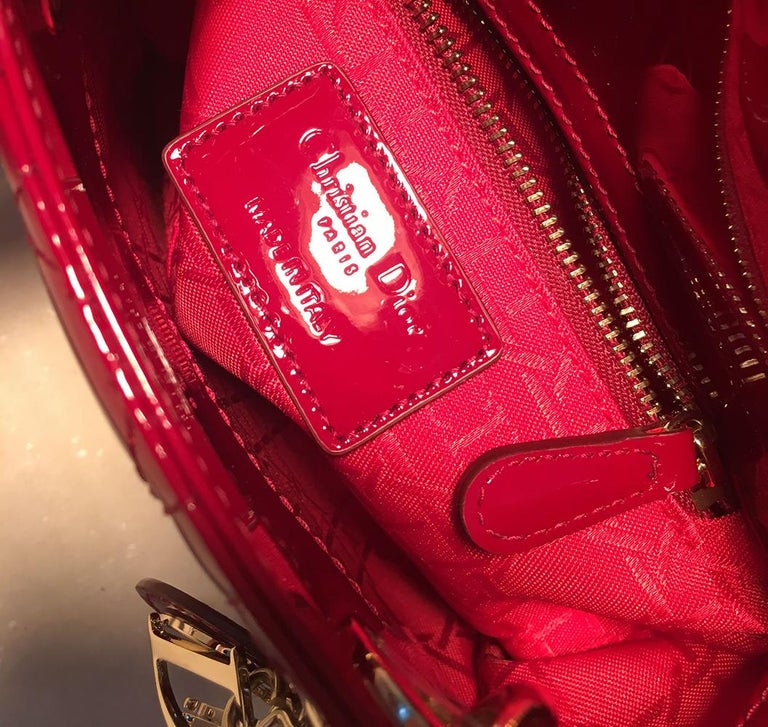 NWOT Christian Dior Red Patent Leather Mini Lady Dior Bag For Sale 4