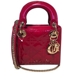 NWOT Christian Dior Red Patent Leather Mini Lady Dior Bag