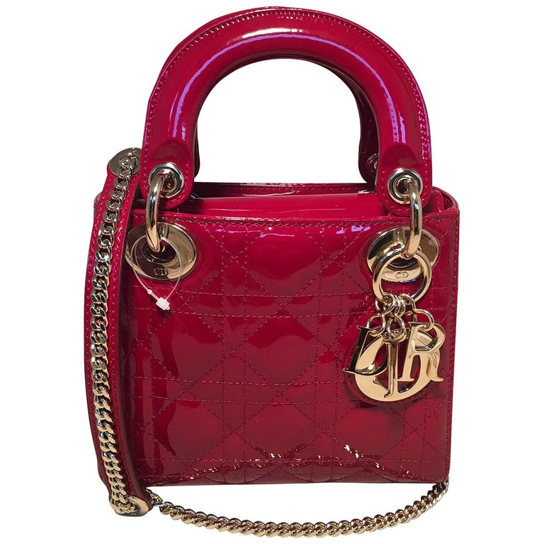 NWOT Christian Dior Red Patent Leather Mini Lady Dior Bag For Sale