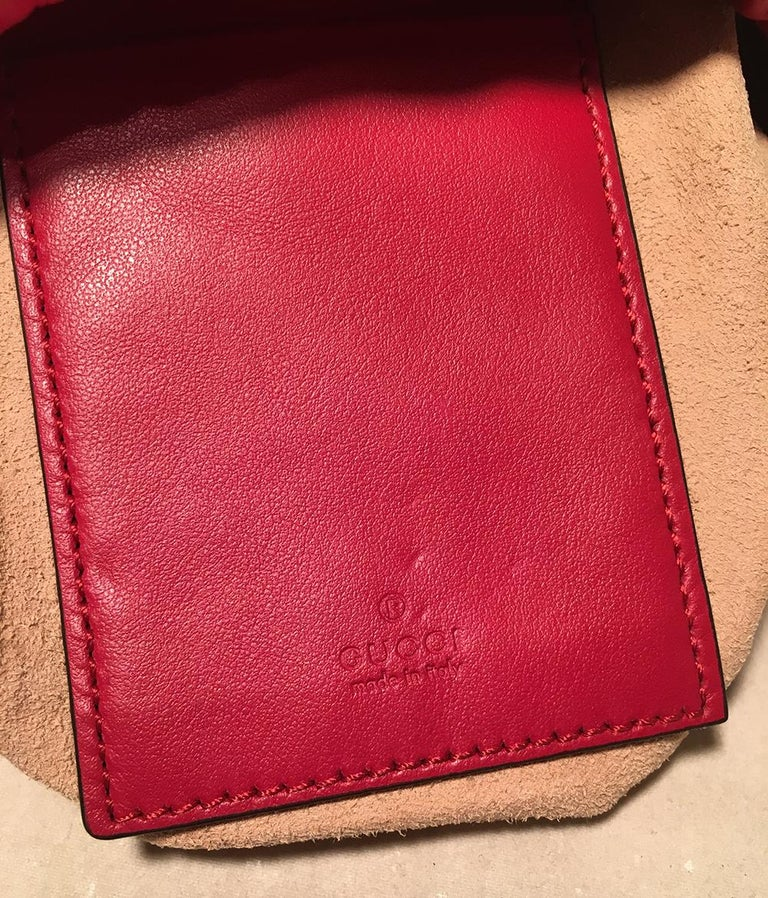NWOT Gucci GG Marmont Mini Quilted Red Leather Bucket Bag For Sale 4