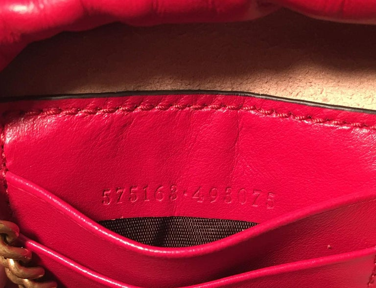 NWOT Gucci GG Marmont Mini Quilted Red Leather Bucket Bag For Sale 5