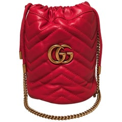 NWOT Gucci GG Marmont Mini Quilted Red Leather Bucket Bag