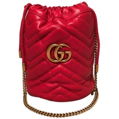 NWOT Gucci Marmont Mini Quilted Red Leather Bucket Bag