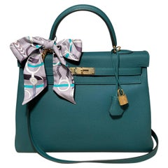 NWOT Hermes Malachite Green Togo Kelly 35 GHW