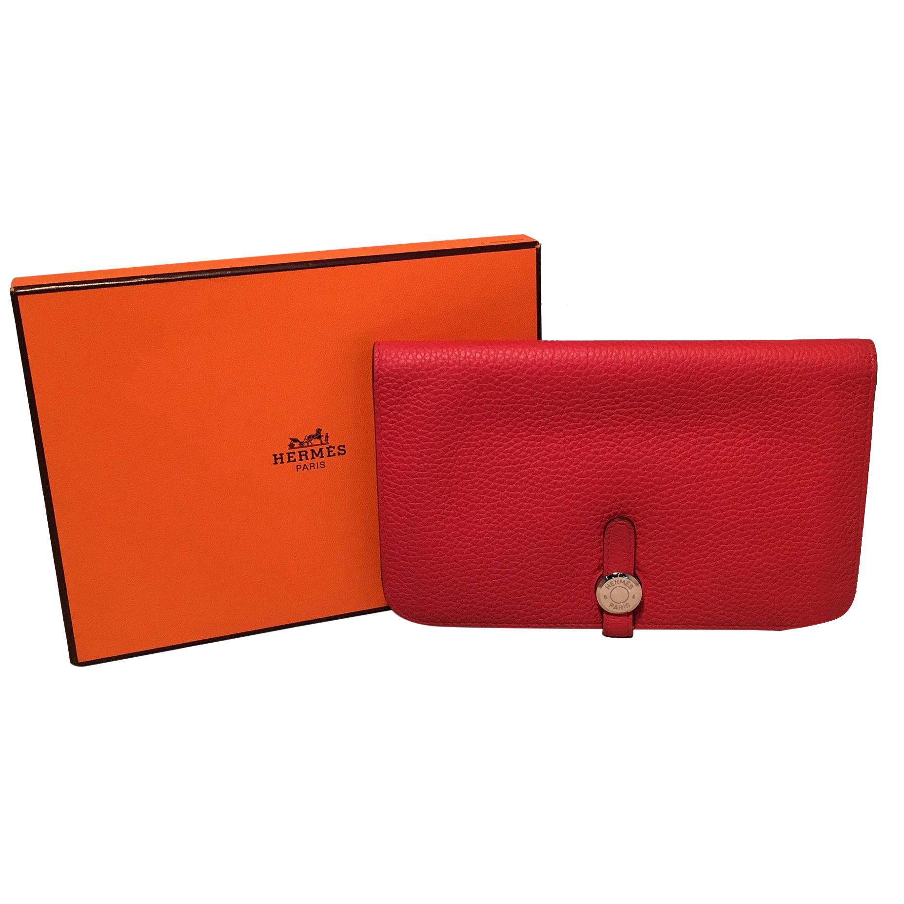 NWOT Hermes Red Togo Dogon Duo Wallet
