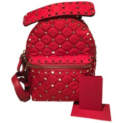 NWOT Valentino Red Nylon Mini Rockstud Backpack