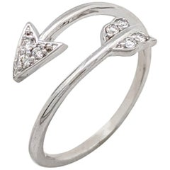 NWT 14 Karat White Gold Open Diamond Arrow Ring