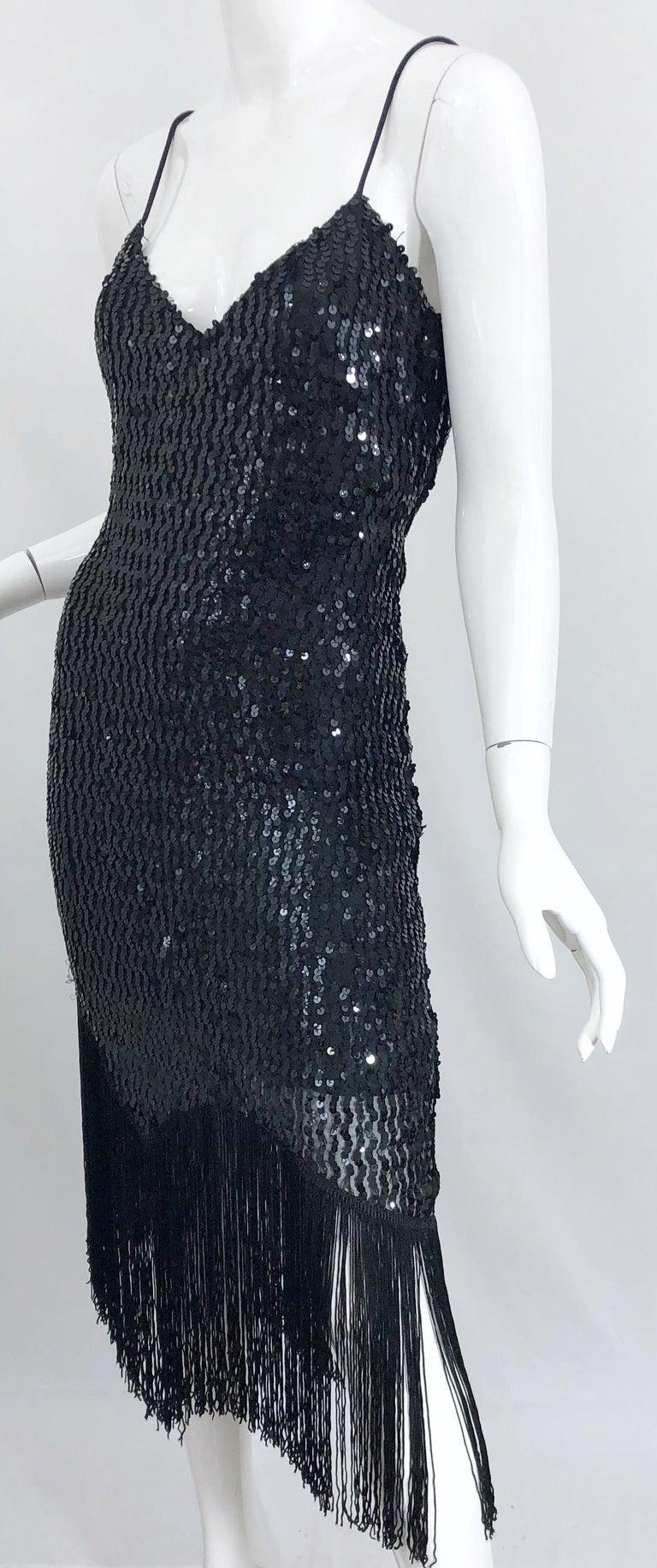 NWT 1970s Joy Stevens Size 10 / 12 Black Sequined Flapper Style Vintage Dress For Sale 6