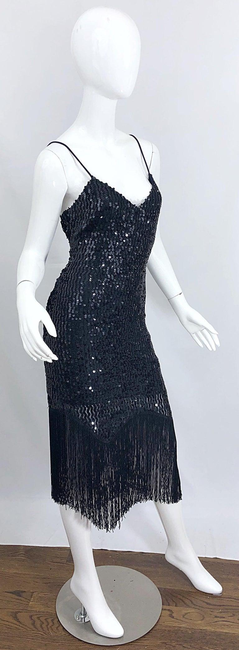 NWT 1970s Joy Stevens Size 10 / 12 Black Sequined Flapper Style Vintage Dress For Sale 8