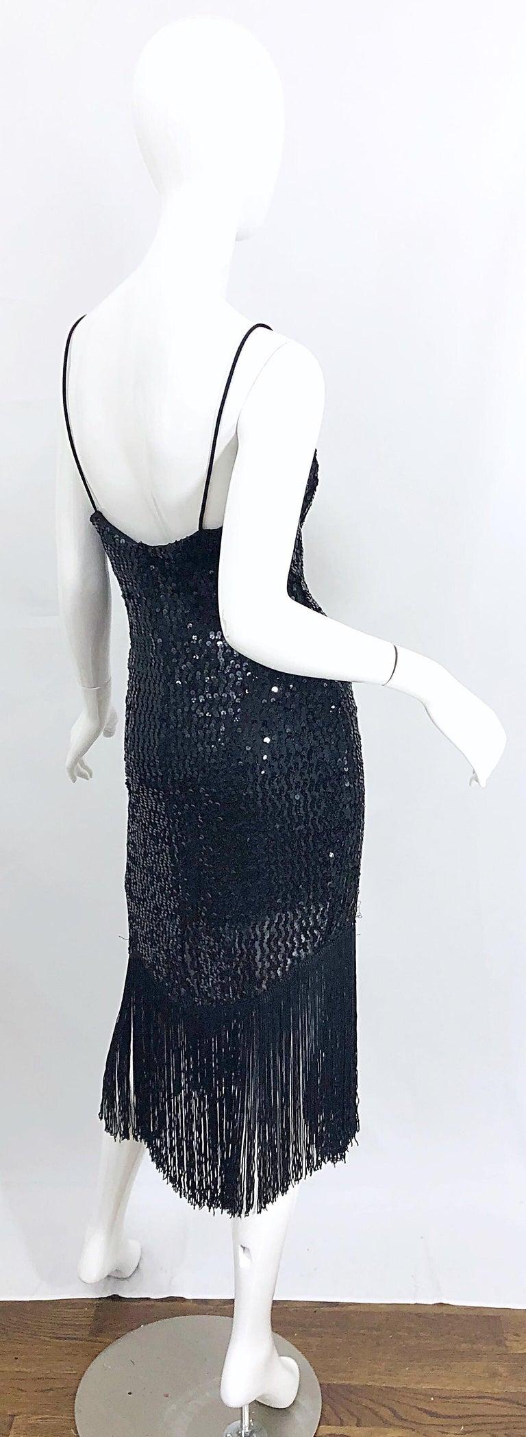 NWT 1970s Joy Stevens Size 10 / 12 Black Sequined Flapper Style Vintage Dress For Sale 9