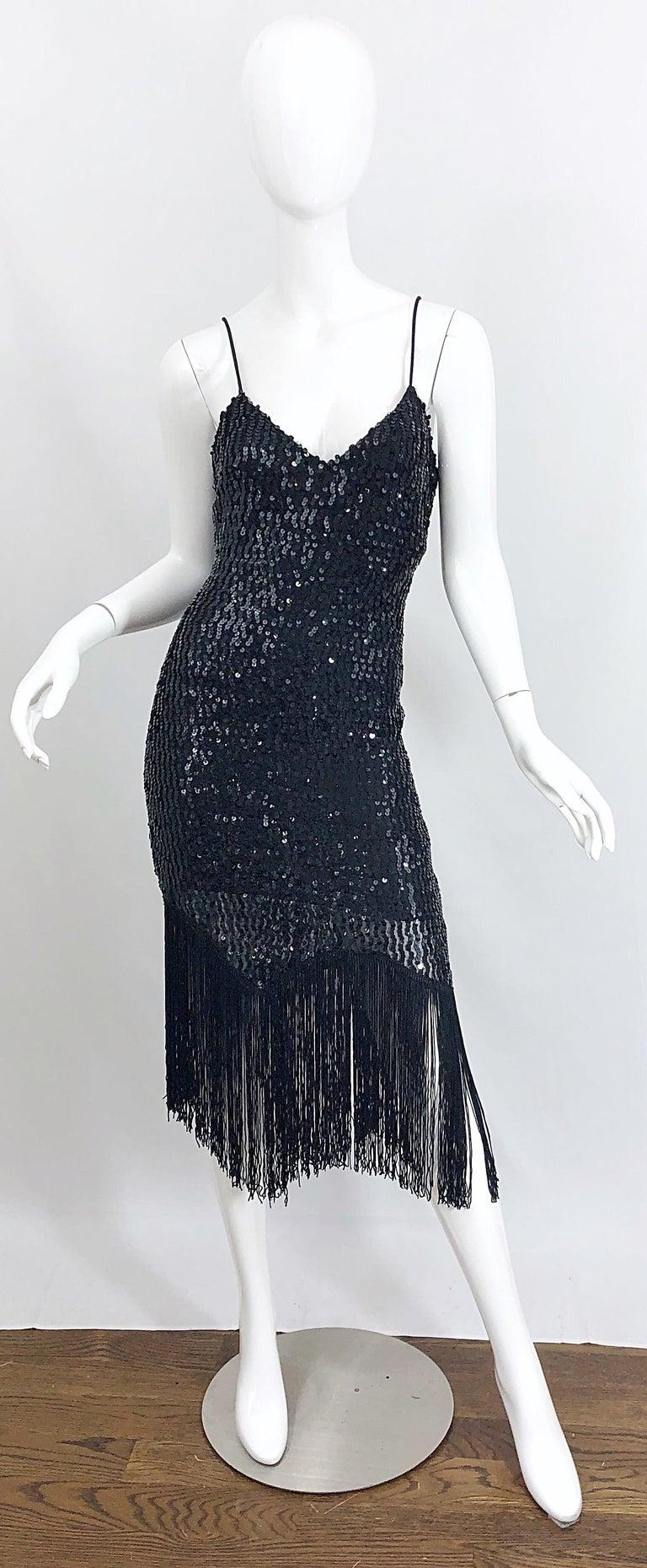 NWT 1970s Joy Stevens Size 10 / 12 Black Sequined Flapper Style Vintage Dress For Sale 10