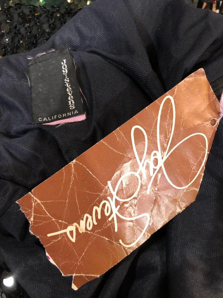 NWT 1970s Joy Stevens Size 10 / 12 Black Sequined Flapper Style Vintage Dress For Sale 1