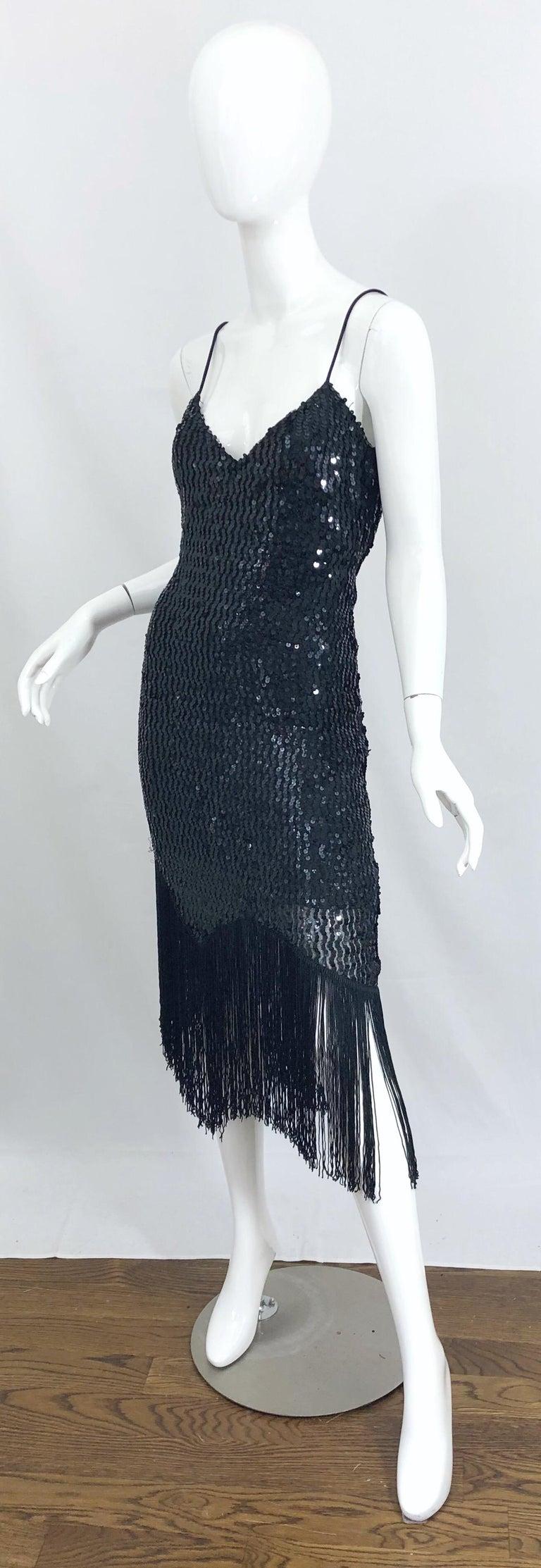 NWT 1970s Joy Stevens Size 10 / 12 Black Sequined Flapper Style Vintage Dress For Sale 2