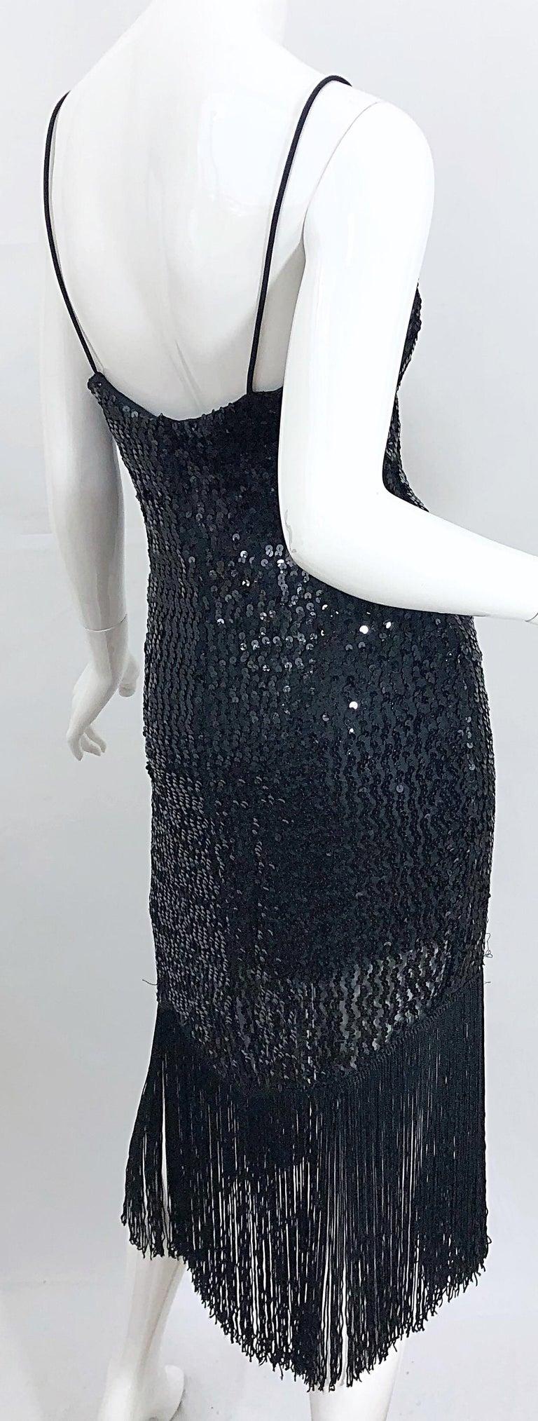NWT 1970s Joy Stevens Size 10 / 12 Black Sequined Flapper Style Vintage Dress For Sale 3