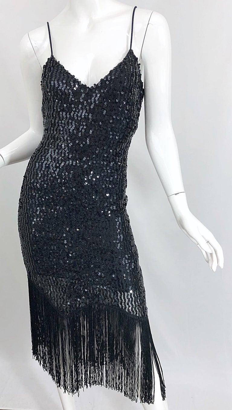 NWT 1970s Joy Stevens Size 10 / 12 Black Sequined Flapper Style Vintage Dress For Sale 4