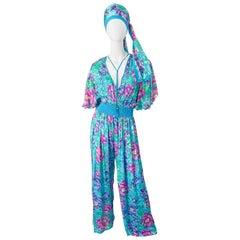 NWT 1980s Diane Freis Silk Flower Print Tassle Beaded Vintage Jumpsuit + Sash