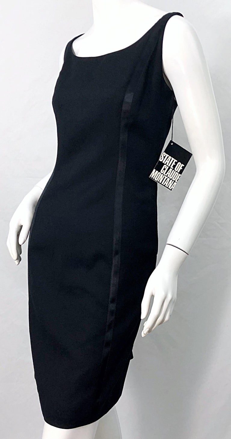 NWT 1990s Claude Montana Size 6 Vintage 90s Sleeveless Little Black Dress  For Sale 6
