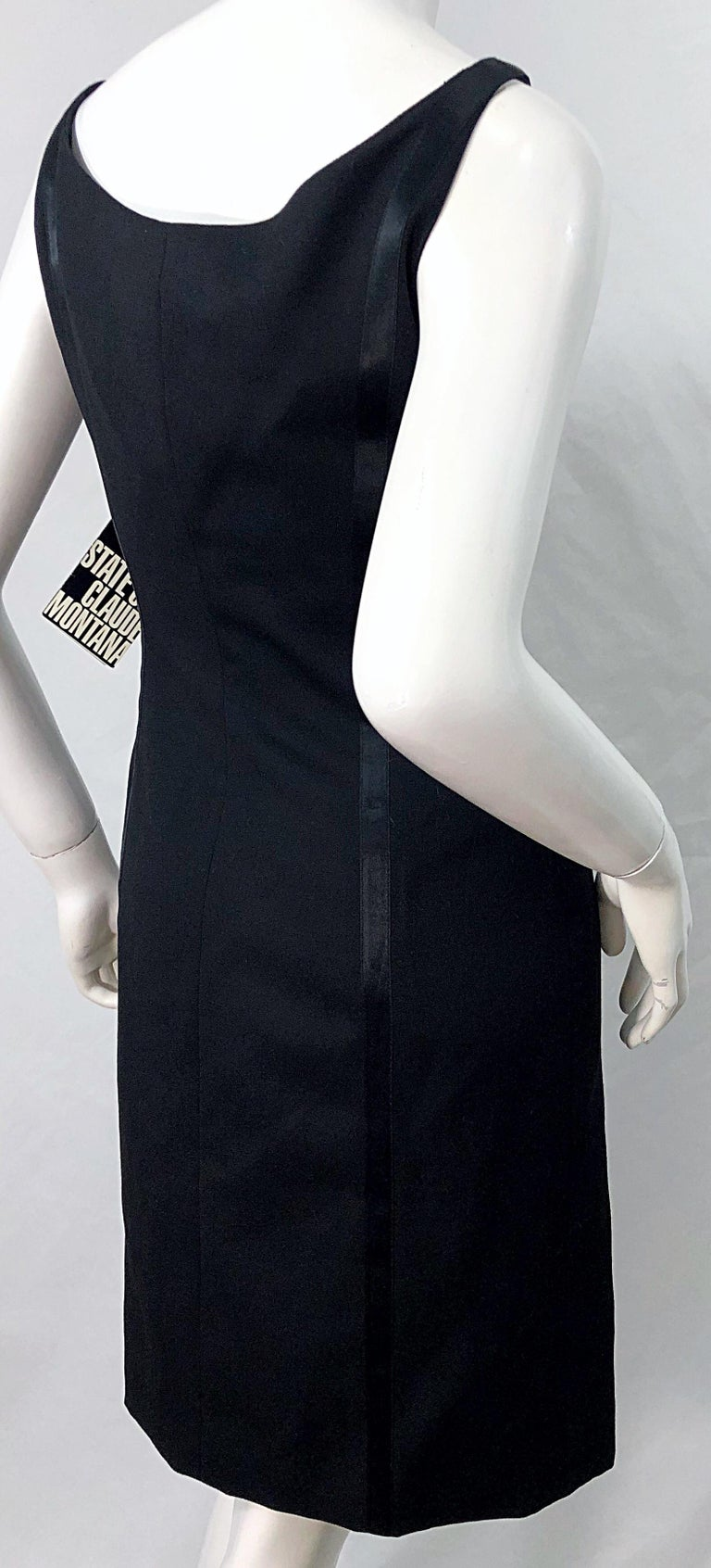 NWT 1990s Claude Montana Size 6 Vintage 90s Sleeveless Little Black Dress  For Sale 7