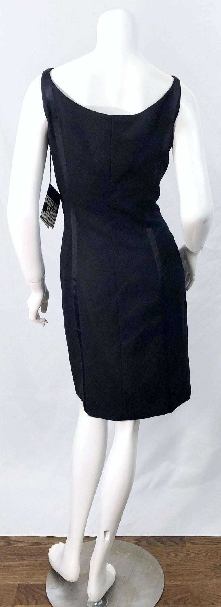 NWT 1990s Claude Montana Size 6 Vintage 90s Sleeveless Little Black Dress  For Sale 9