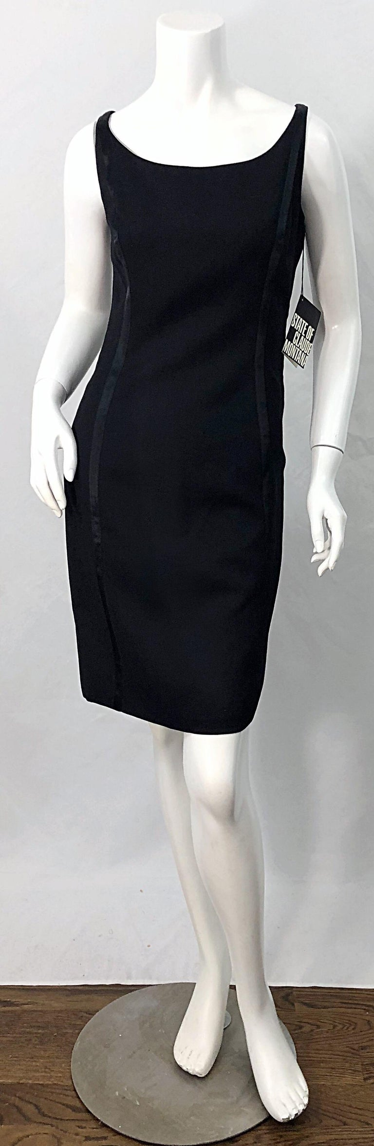 NWT 1990s Claude Montana Size 6 Vintage 90s Sleeveless Little Black Dress  For Sale 10