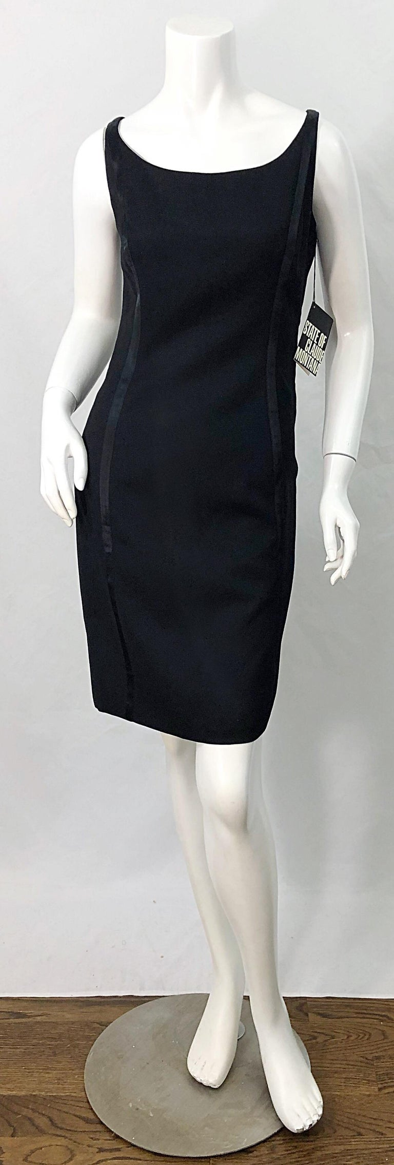 New with original tags deadstock 1990s CLAUDE MONTANA little black dress ! Features a soft lightweight wool, with satin tuxedo stripes up the front and back sides. Fully lined. Hidden zipper up the back with hook-and-eye closure. The perfect little