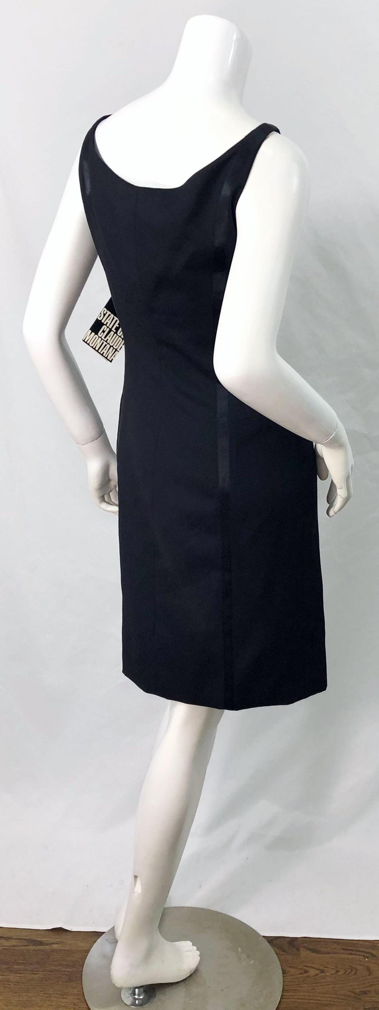 NWT 1990s Claude Montana Size 6 Vintage 90s Sleeveless Little Black Dress  For Sale 1