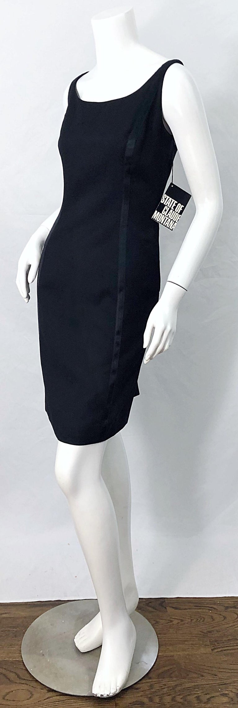 NWT 1990s Claude Montana Size 6 Vintage 90s Sleeveless Little Black Dress  For Sale 2