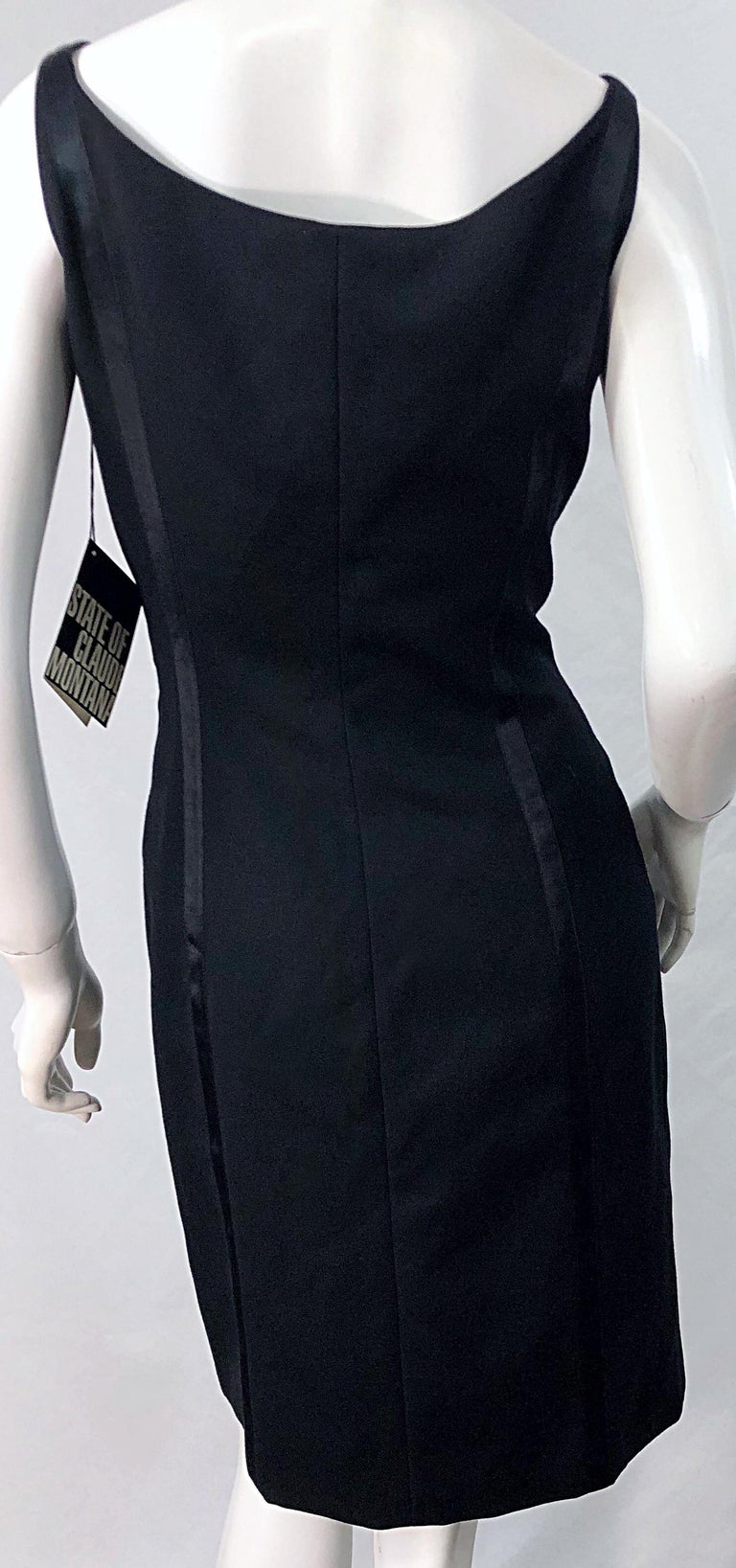 NWT 1990s Claude Montana Size 6 Vintage 90s Sleeveless Little Black Dress  For Sale 3