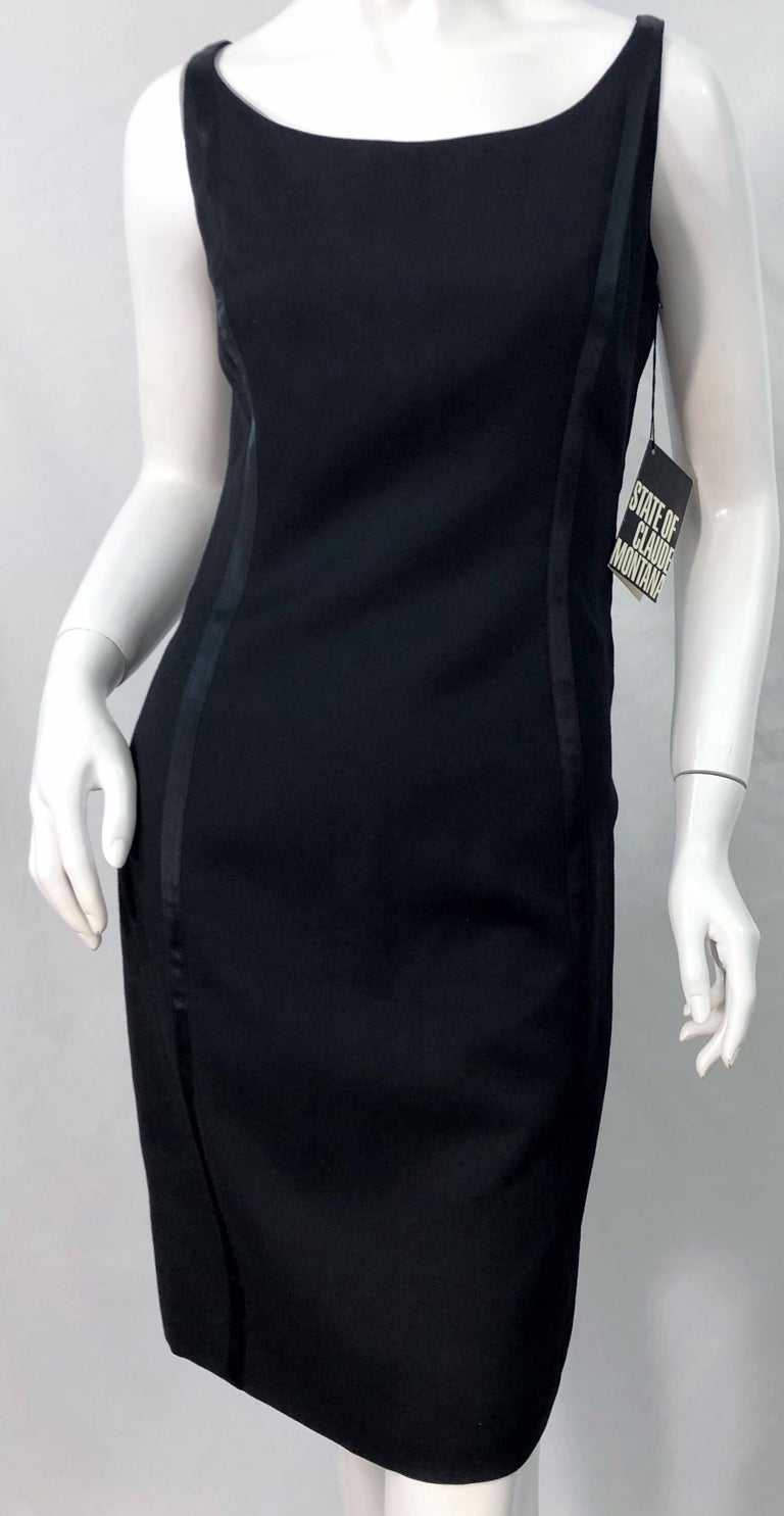 NWT 1990s Claude Montana Size 6 Vintage 90s Sleeveless Little Black Dress  For Sale 4