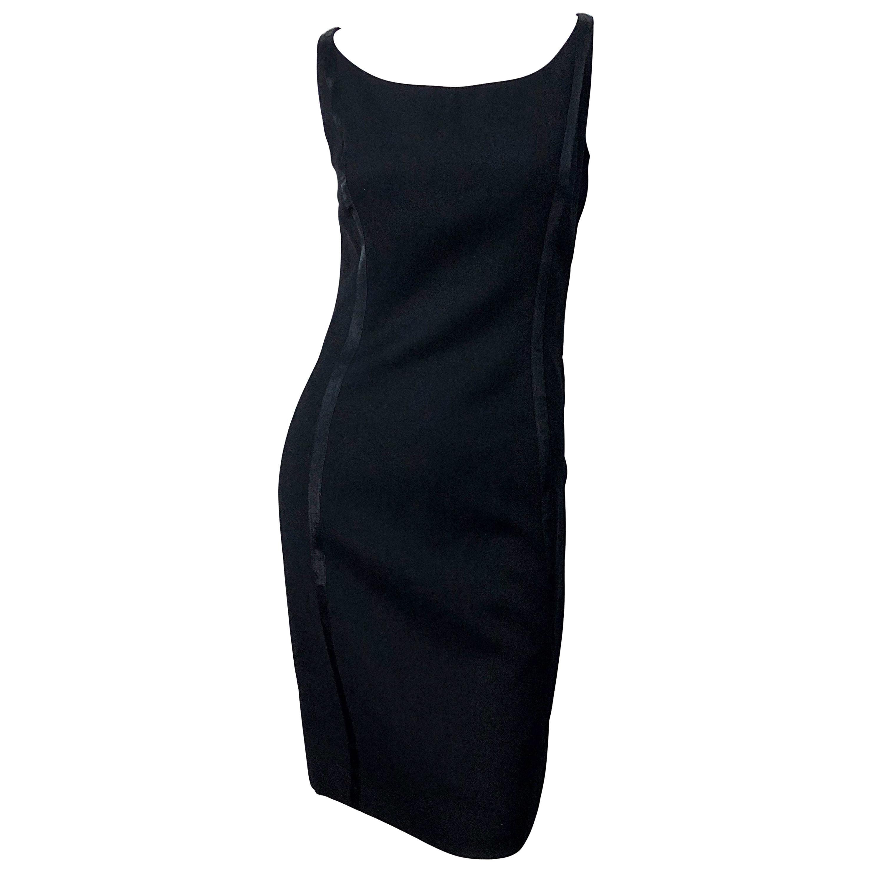 NWT 1990s Claude Montana Size 6 Vintage 90s Sleeveless Little Black Dress