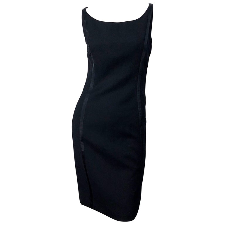 NWT 1990s Claude Montana Size 6 Vintage 90s Sleeveless Little Black Dress  For Sale