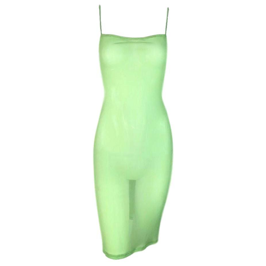 NWT 1990's Dolce & Gabbana Sheer Green Mesh Bodycon Dress