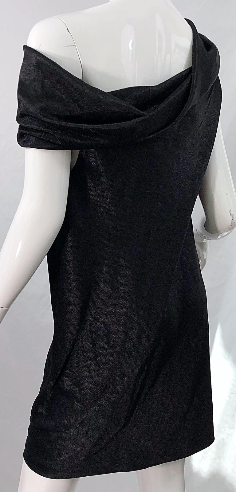 NWT 1990s Donna Karan Size 8 Black Metallic Rayon Off - Shoulder Vintage Dress For Sale 6