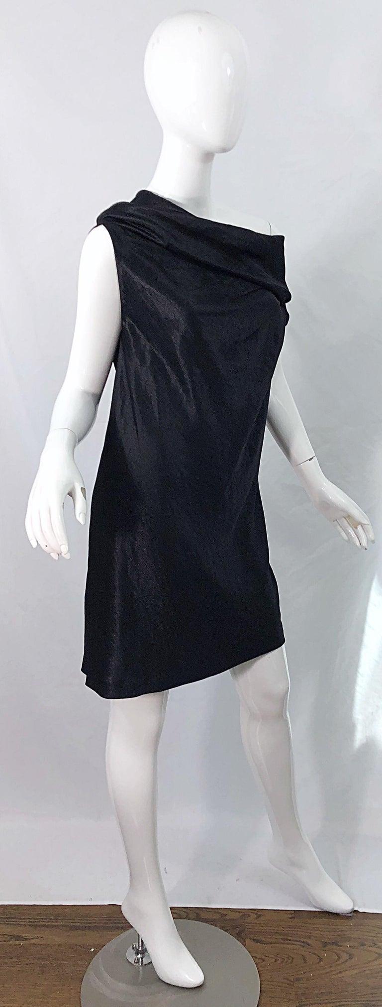 NWT 1990s Donna Karan Size 8 Black Metallic Rayon Off - Shoulder Vintage Dress For Sale 7