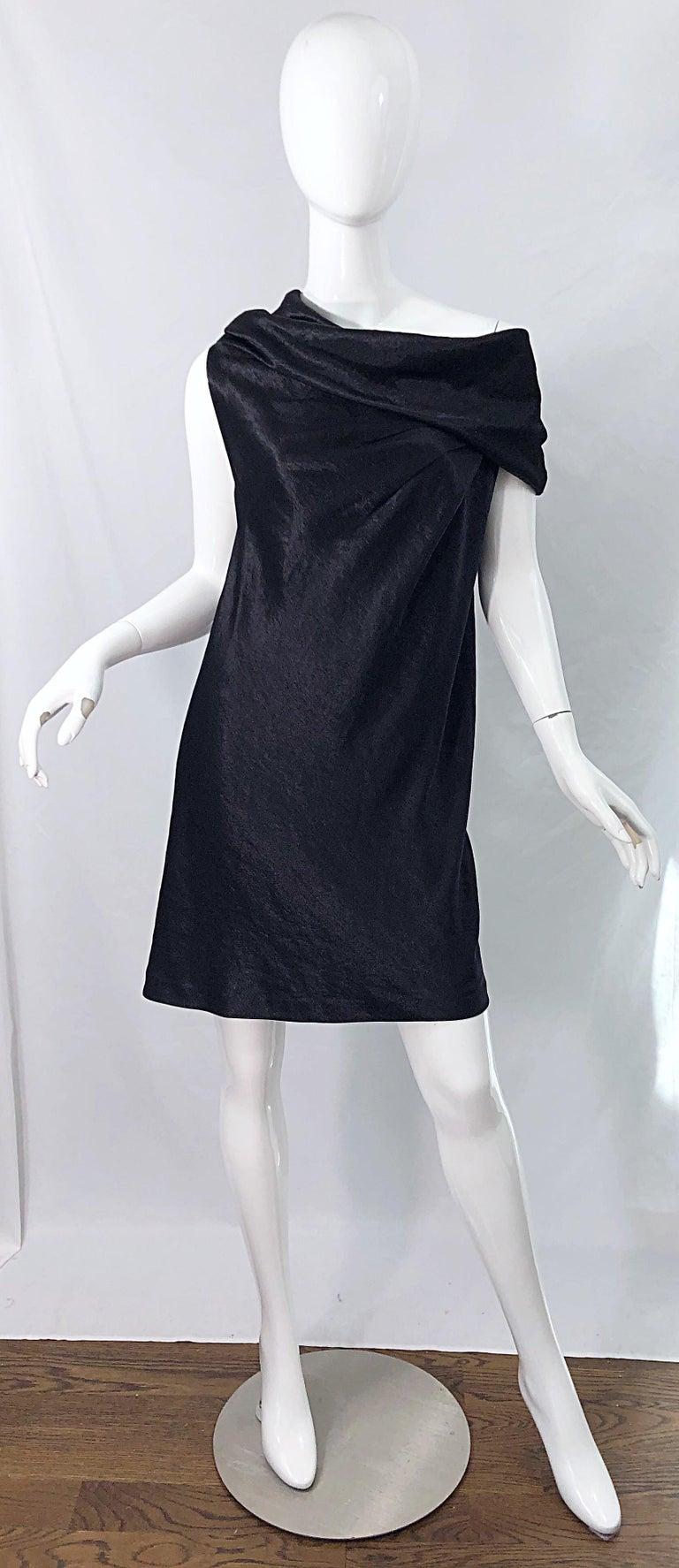 NWT 1990s Donna Karan Size 8 Black Metallic Rayon Off - Shoulder Vintage Dress For Sale 9